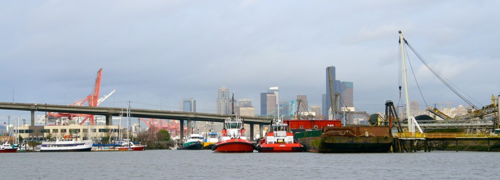 Duwamish River, West Seattle Bridge and downtown Seattle.