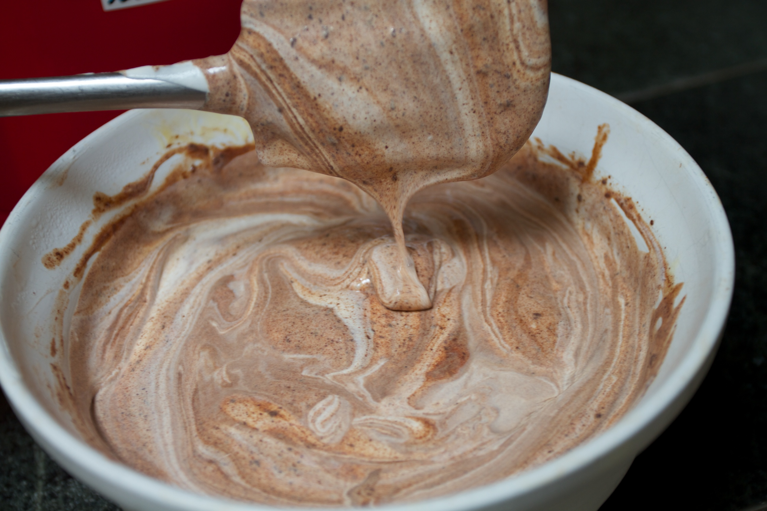 making chocolate gelato