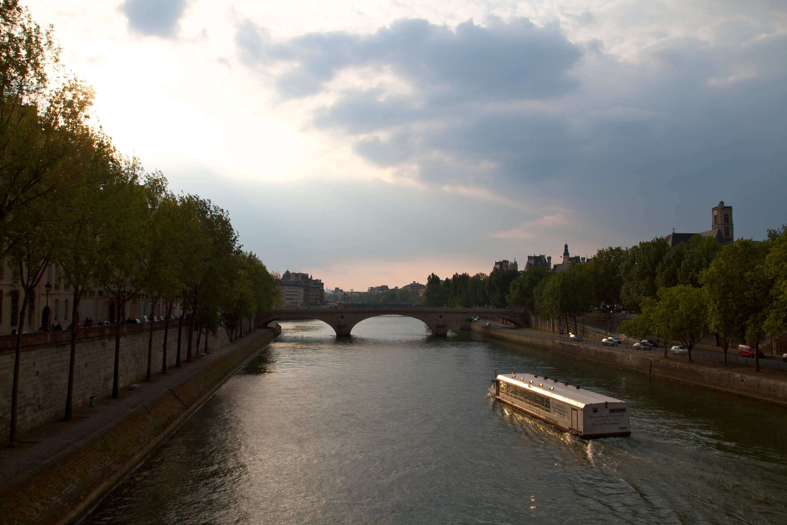 The Seine River at dusk, Paris.