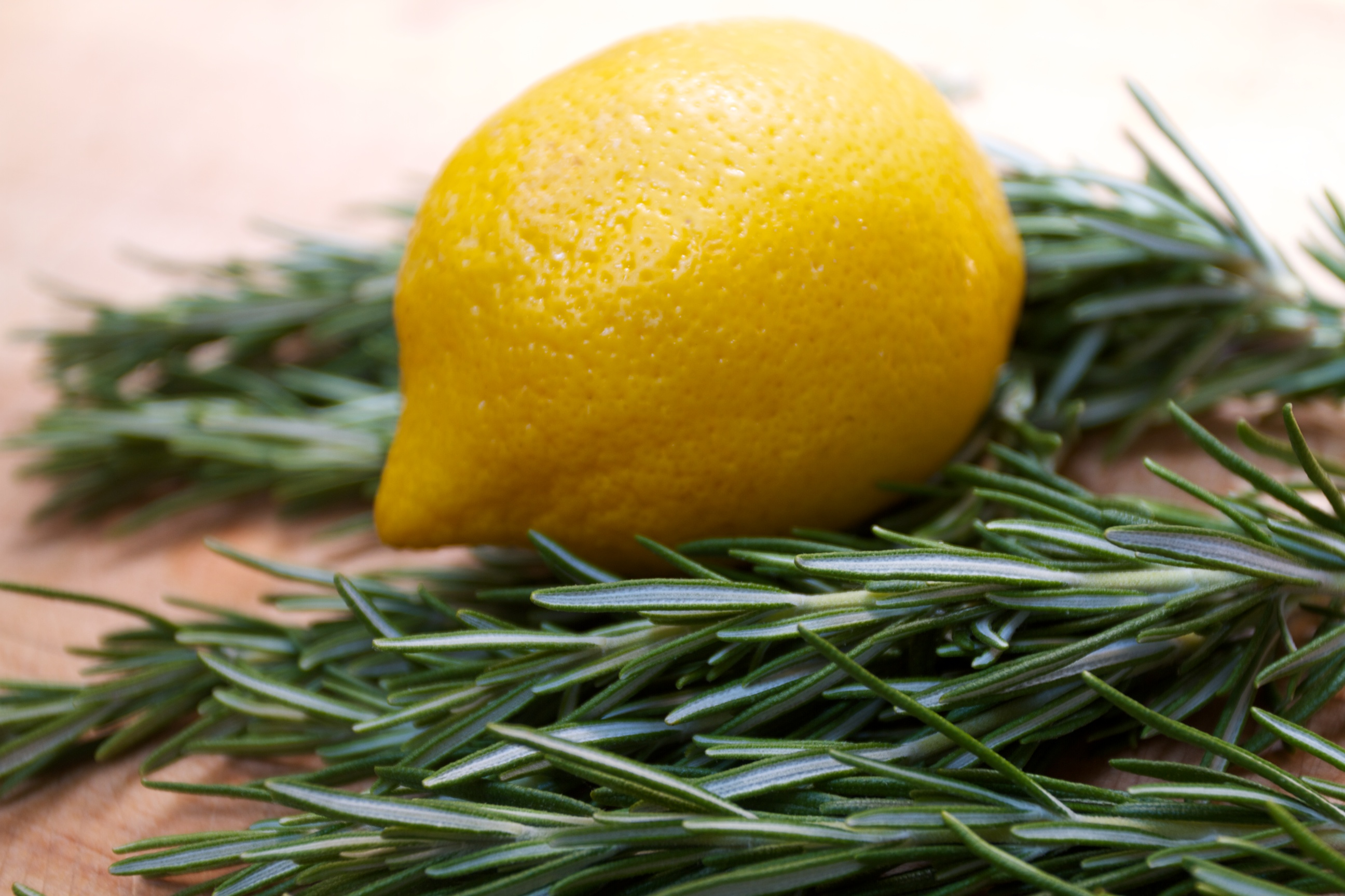 fresh rosemary and a lemon