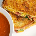 Grilled Bacon Cheese Sandwich with Tomato Soup