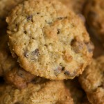 choc chip cookies close up