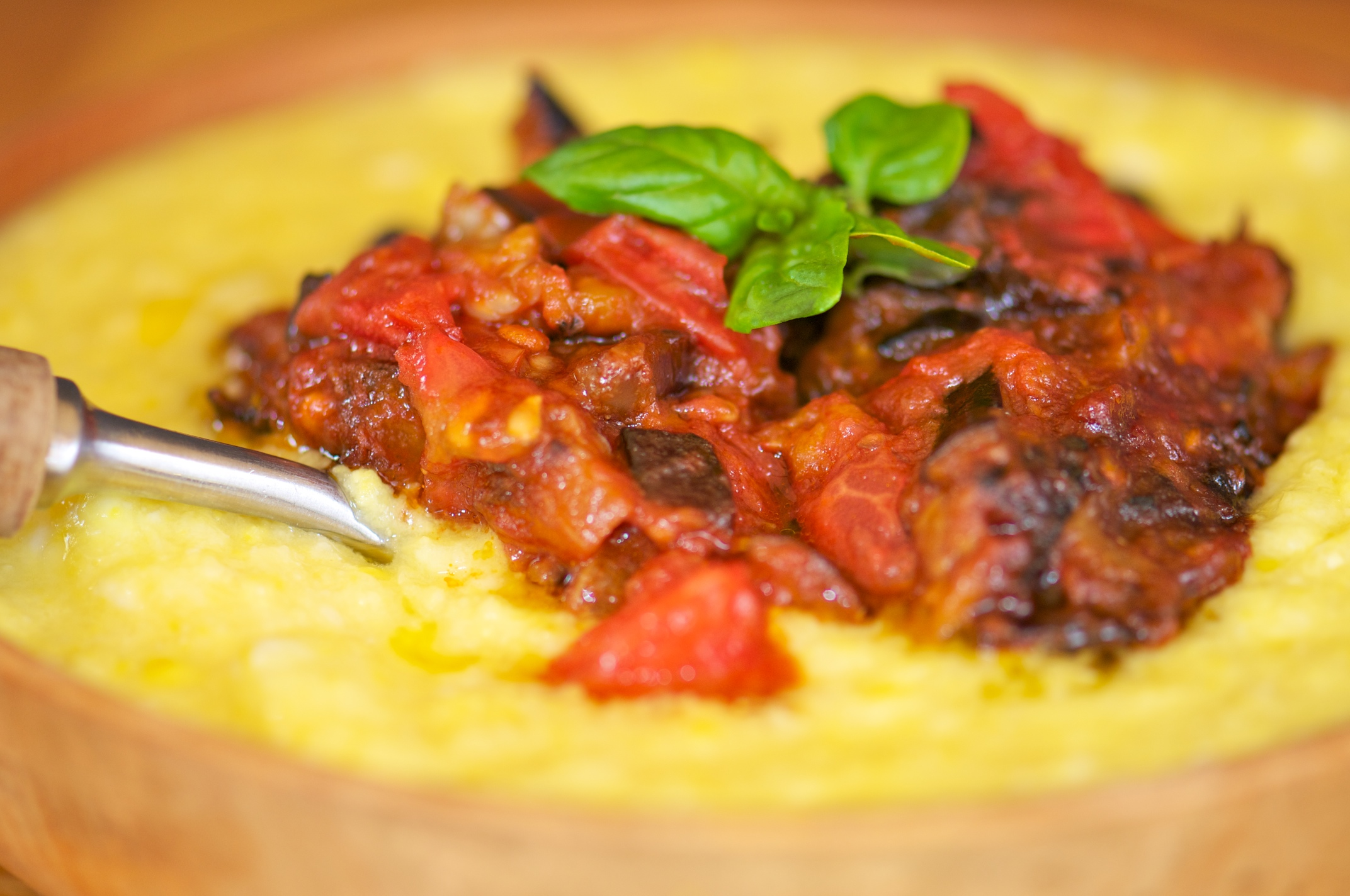 ... Sweet Corn Polenta With Eggplant Sauce Recipes — Dishmaps