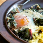 Baked Eggs on a Bed of Swiss Chard