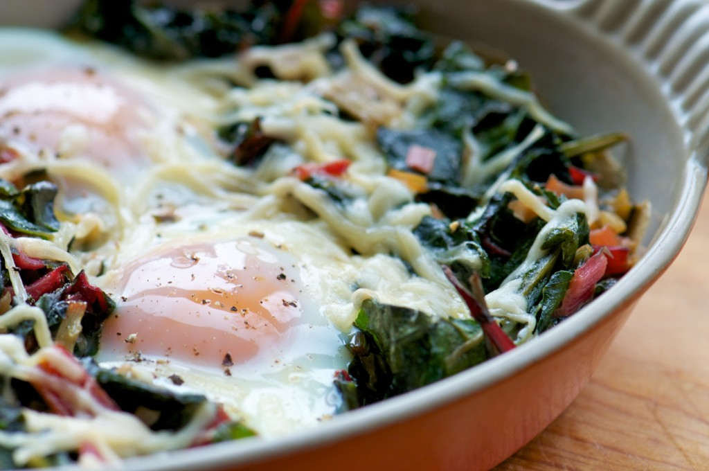 Swiss Chard with Baked Eggs