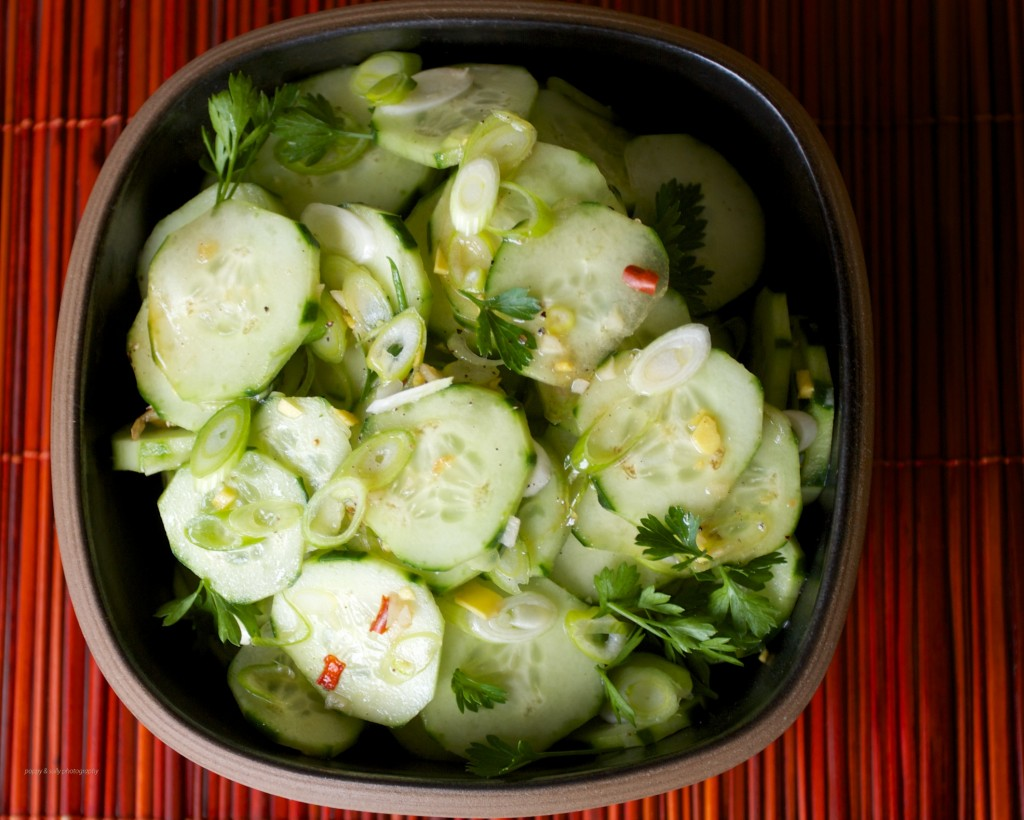 Asian flavored cucumber salad 1