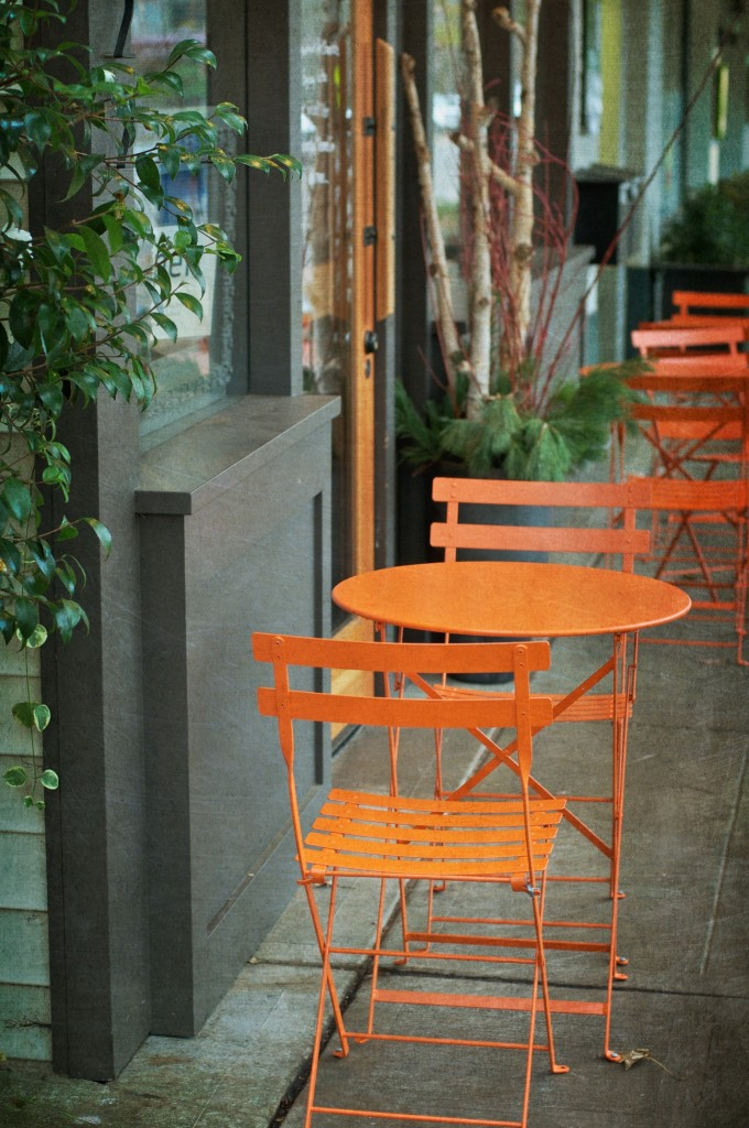 Orange Cafe Table & Chairs
