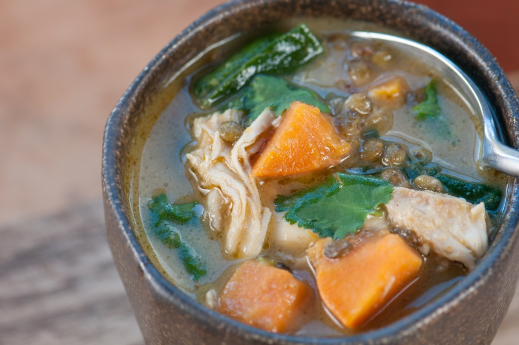 Chicken Lentil Coconut Curry Soup