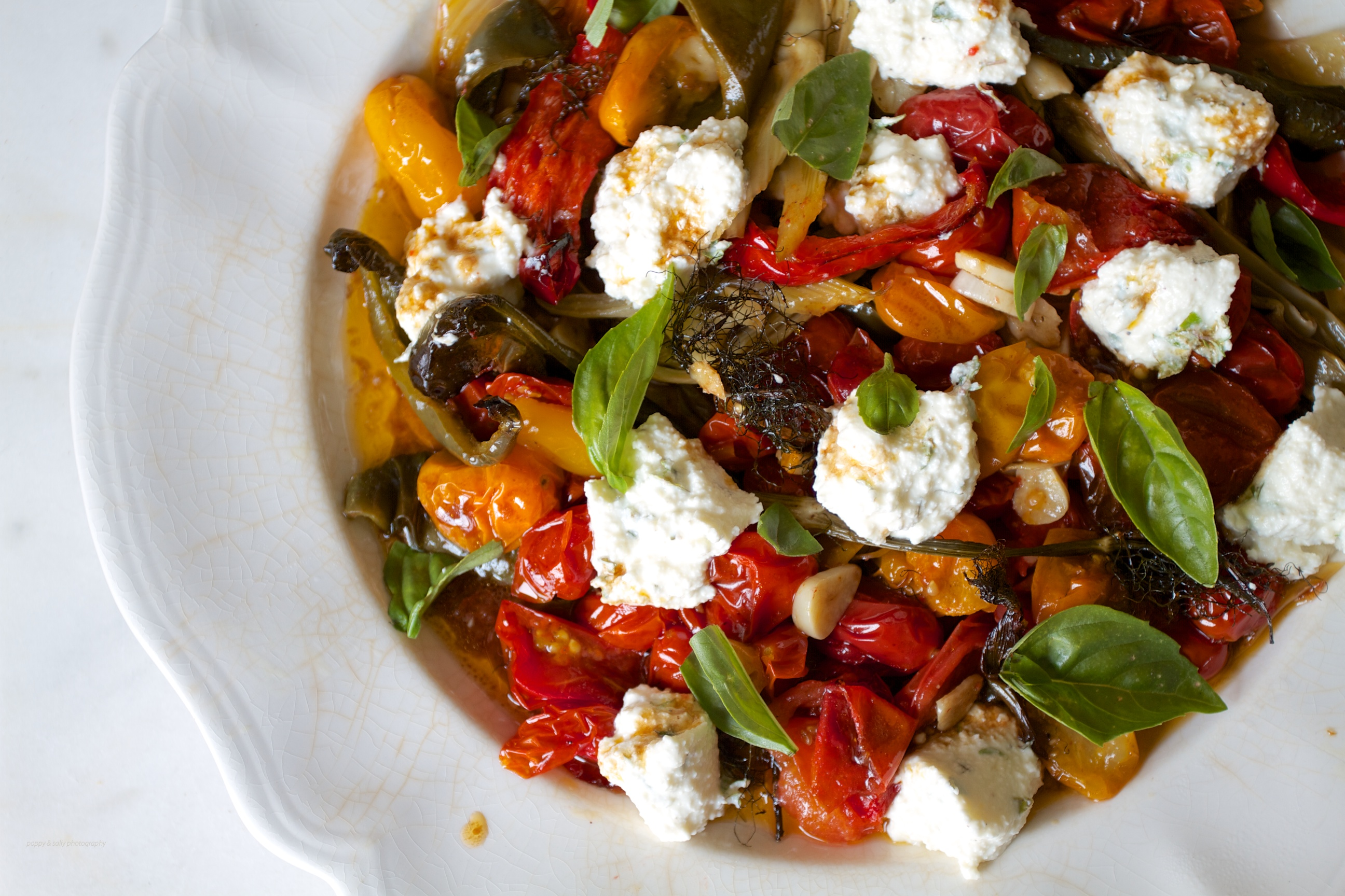 Roasted Summer Vegetables With Goat Cheese Recipe — Dishmaps